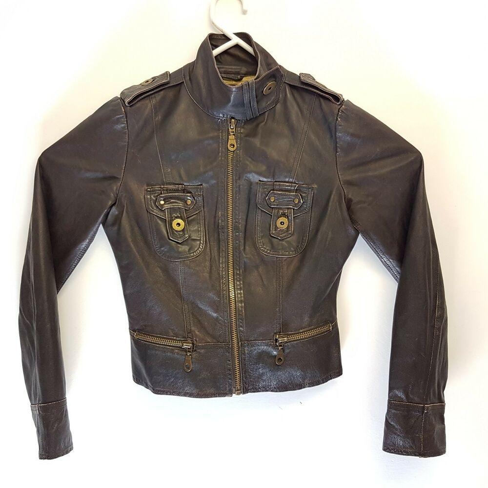 Zara Womens Biker Jacket Black Nappa Leather Size Small UK