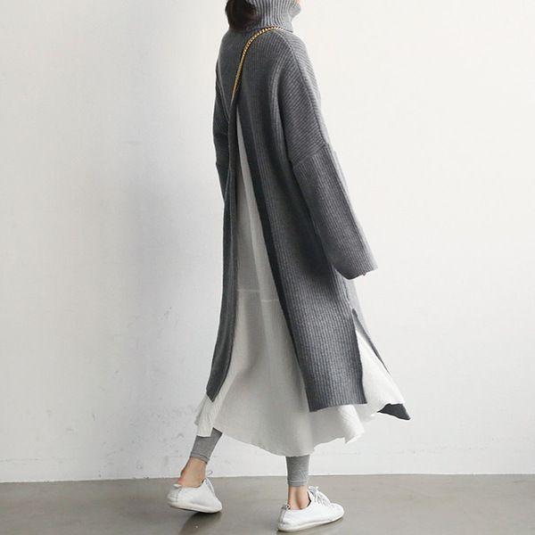 Fashion High Collar Plain Slit Sweater Maxi Dress