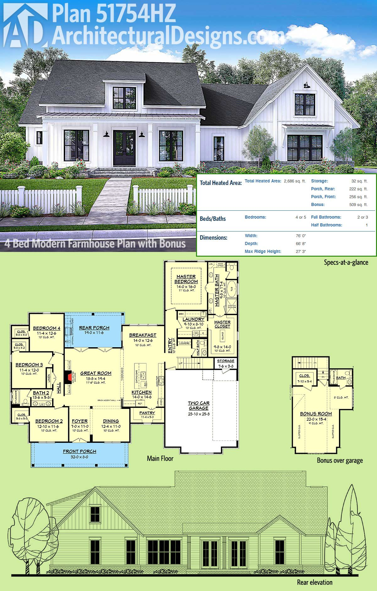 Architectural designs modern farmhouse plan 51754hz gives you over 2600 square feet of living space plus a bonus room over the garage giving you a great