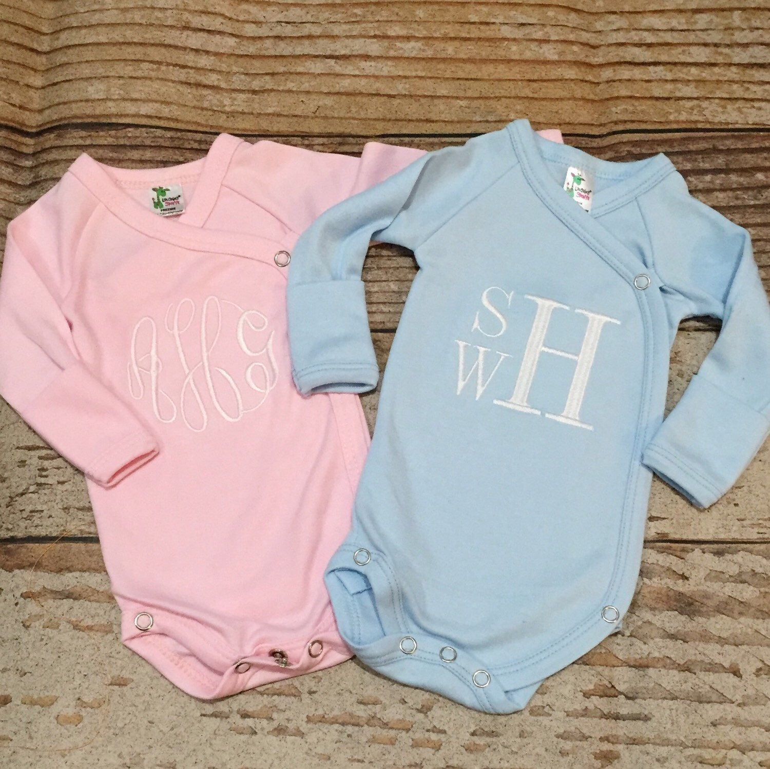 Monogrammed Preemie ing home outfit shirt top bodysuit baby