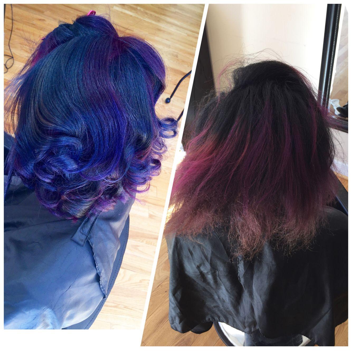 Color Correction Blue Purple Hair Natural Hair Silk Press Pink Black Hair Studio 11e Che Silk Press Natural Hair Natural Hair Styles Dyed Natural Hair