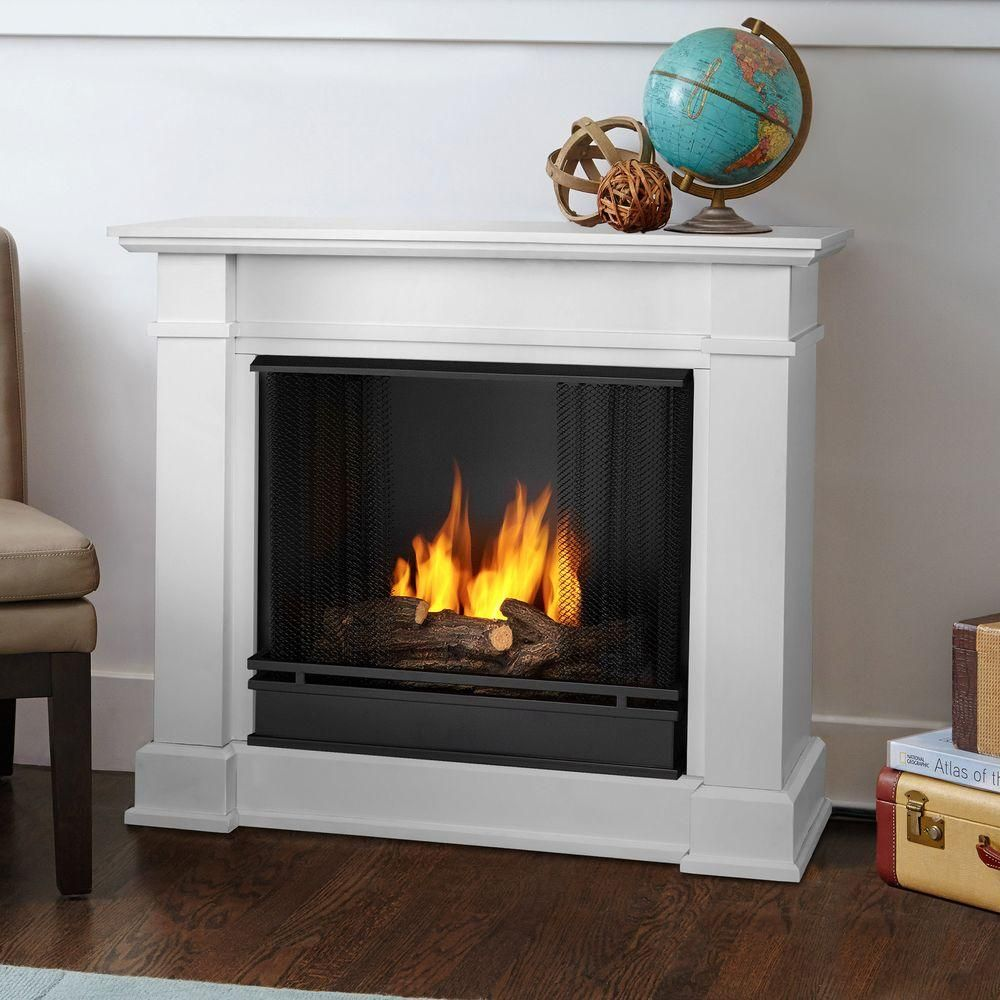 Devin 36 In Ventless Gel Fuel Fireplace In White Electric