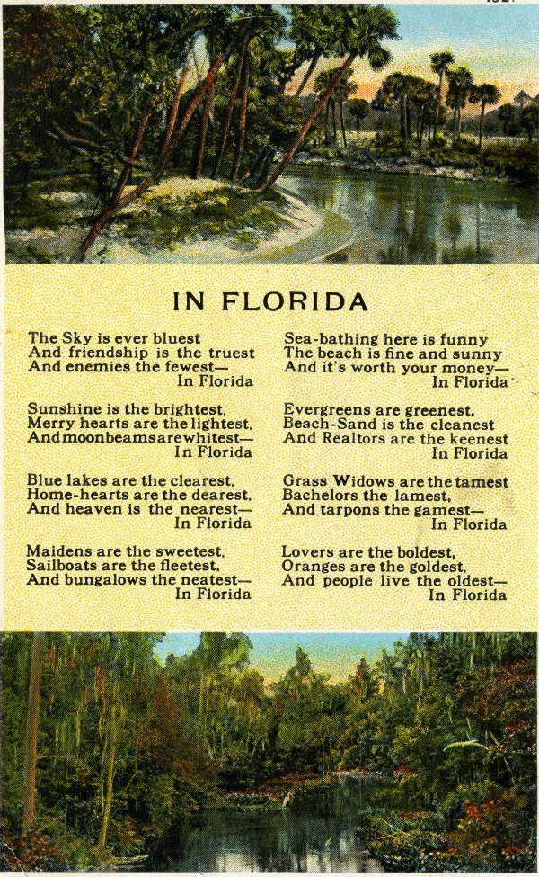 Florida Memory In Florida Poem By William Lee Popham Florida Travel Old Florida Florida
