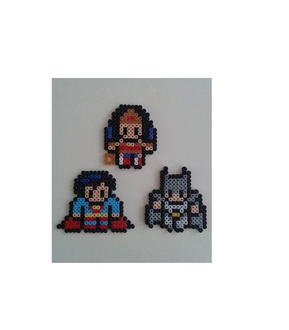 DC heroes in Hama perler beads. Superman, Batman, Wonder Woman. Keychain / magnet