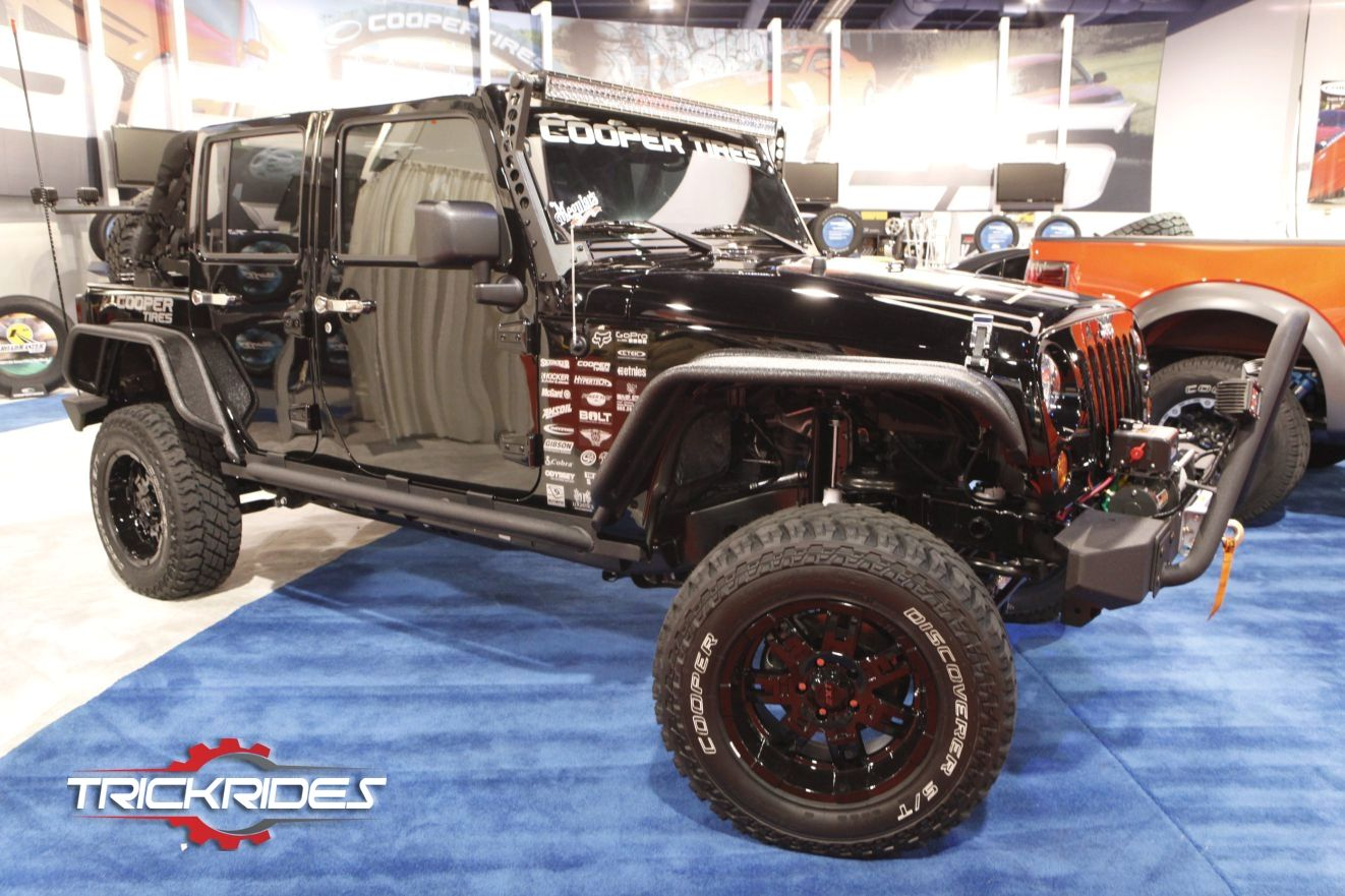 Jeep Wrangler By Cooper Tire Rubber Co At Sema Show Trickrides Sema Carporn Aftermarketaccessories Trickit Offroad Jee Jeep Wrangler Black Jeep Jeep