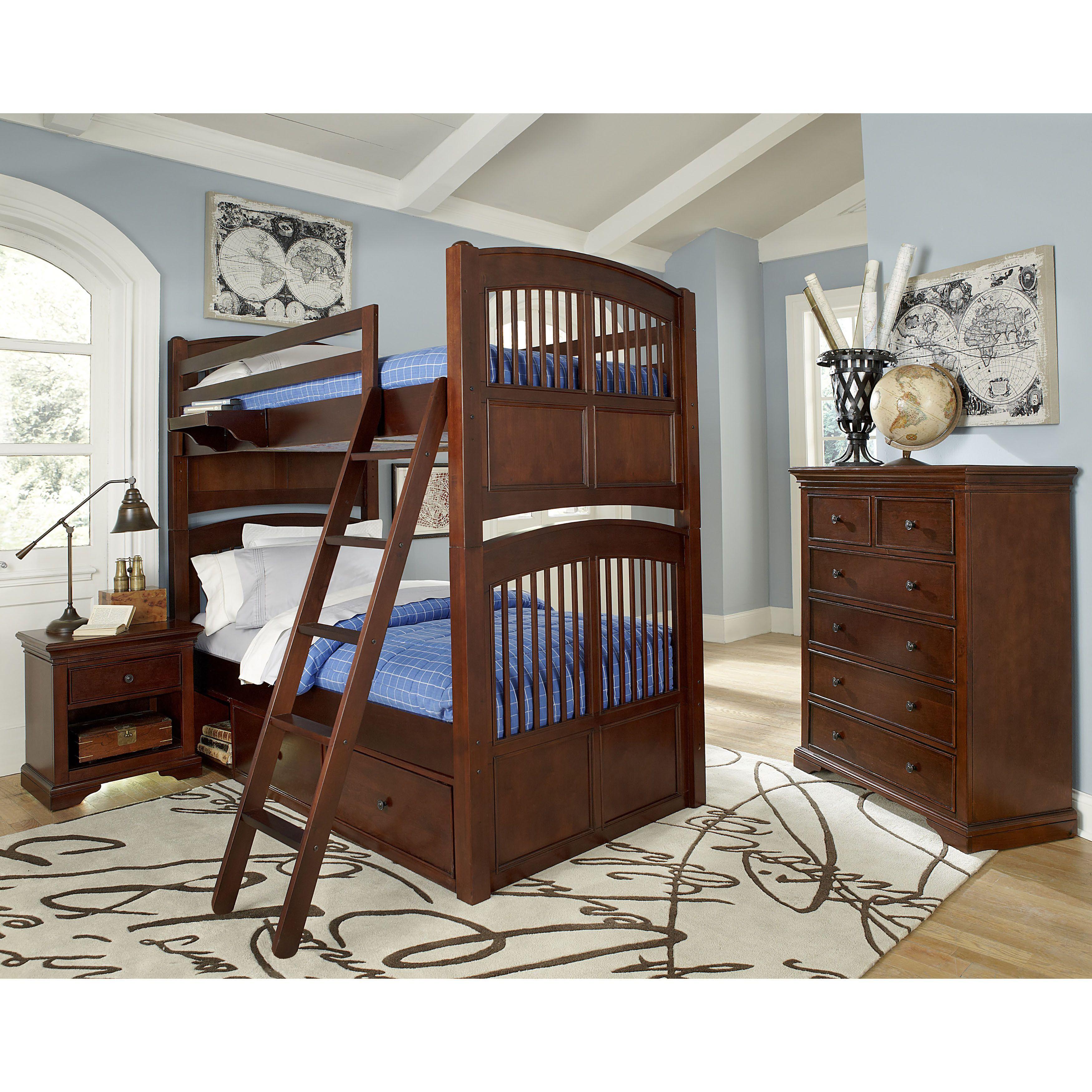 Twin loft bed dimensions  NE Kids Walnut Street Hayden Chestnut Wood Twinovertwin Bunk Bed