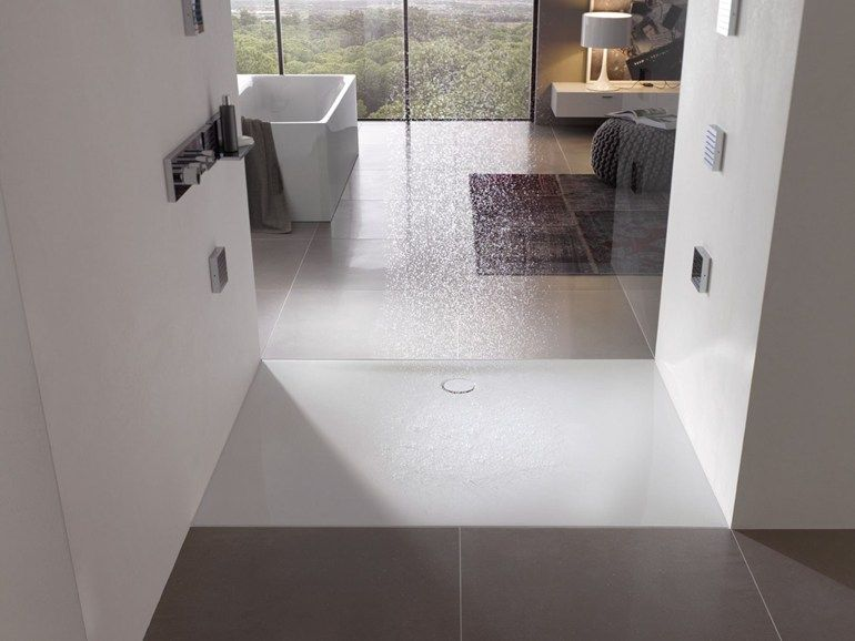 Piatto doccia filo pavimento in acciaio smaltato bettefloor side