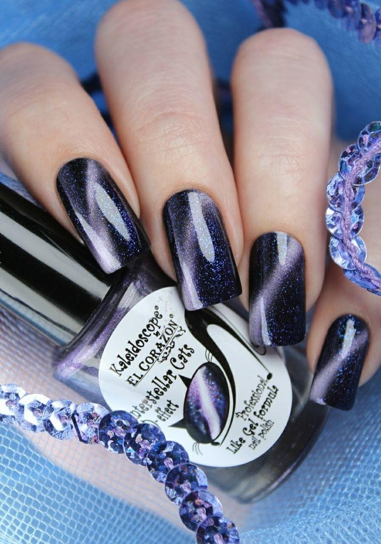 lila schwarz glitzer cat eye gel nägel #nail #design   cats eye ...