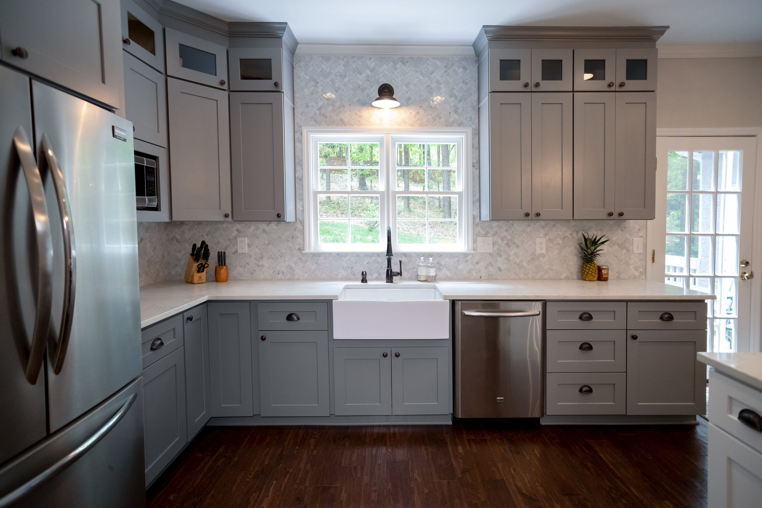 farmhouse kitchen farmhouse sink grey shaker cabinets small glass upper cabinets on top of on farmhouse kitchen grey cabinets id=85768