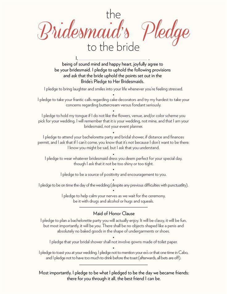 bridesmaids pledge to the bride                                                                                                                                                                                 More