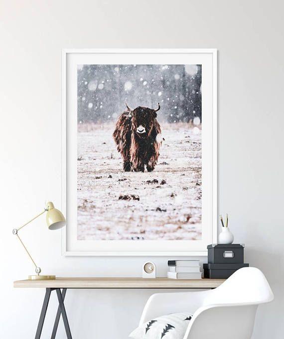 Highland Cow Print Scandinavian Print Scandi Home Decor SlapDash