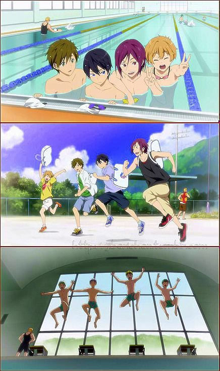 Free! ~~ Note how Sasabe is close by in each and every frame of these images of the chibi friends. Awwe! :: Makoto, Haruka, Rin and Nagisa