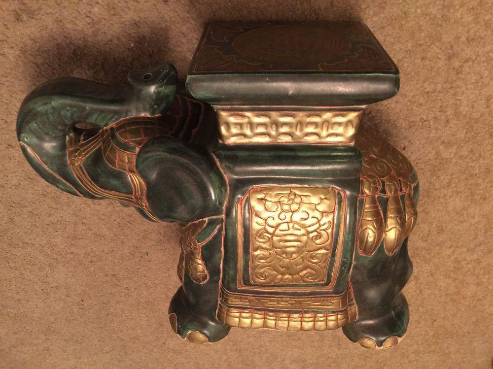 Asian elephant garden table stool plant stand raised trunk