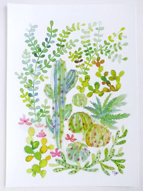 Illustration Aquarelle Jungle Cactus Et Plantes Grasses Cacti