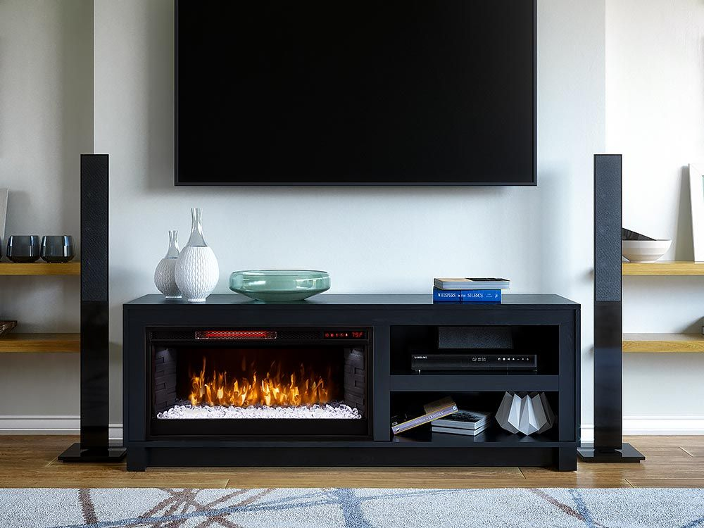 Bushwick Electric Fireplace Tv Stand In Black Oak 1030fm 28 257 In 2021 Fireplace Tv Stand Electric Fireplace Tv Stand Electric Fireplace Black electric fireplace tv stand