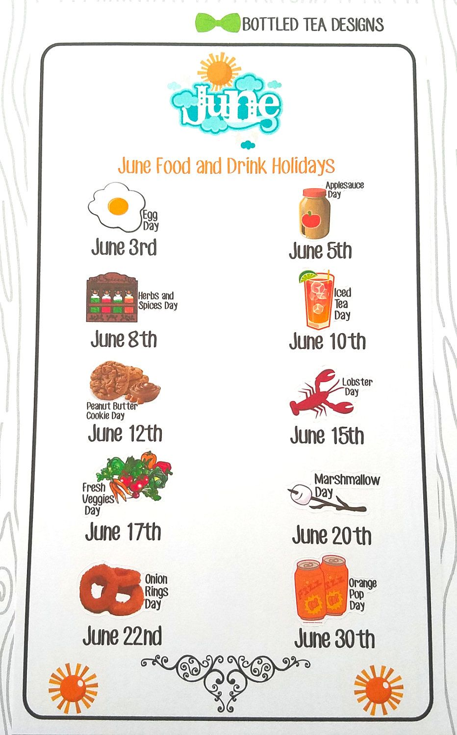 June Wacky Food & Drink Holidays (Set of 11) Item 477 in