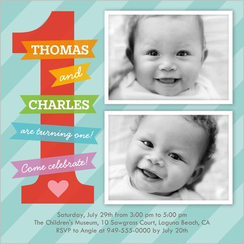 One Today Twin Birthday Invitation In 2019