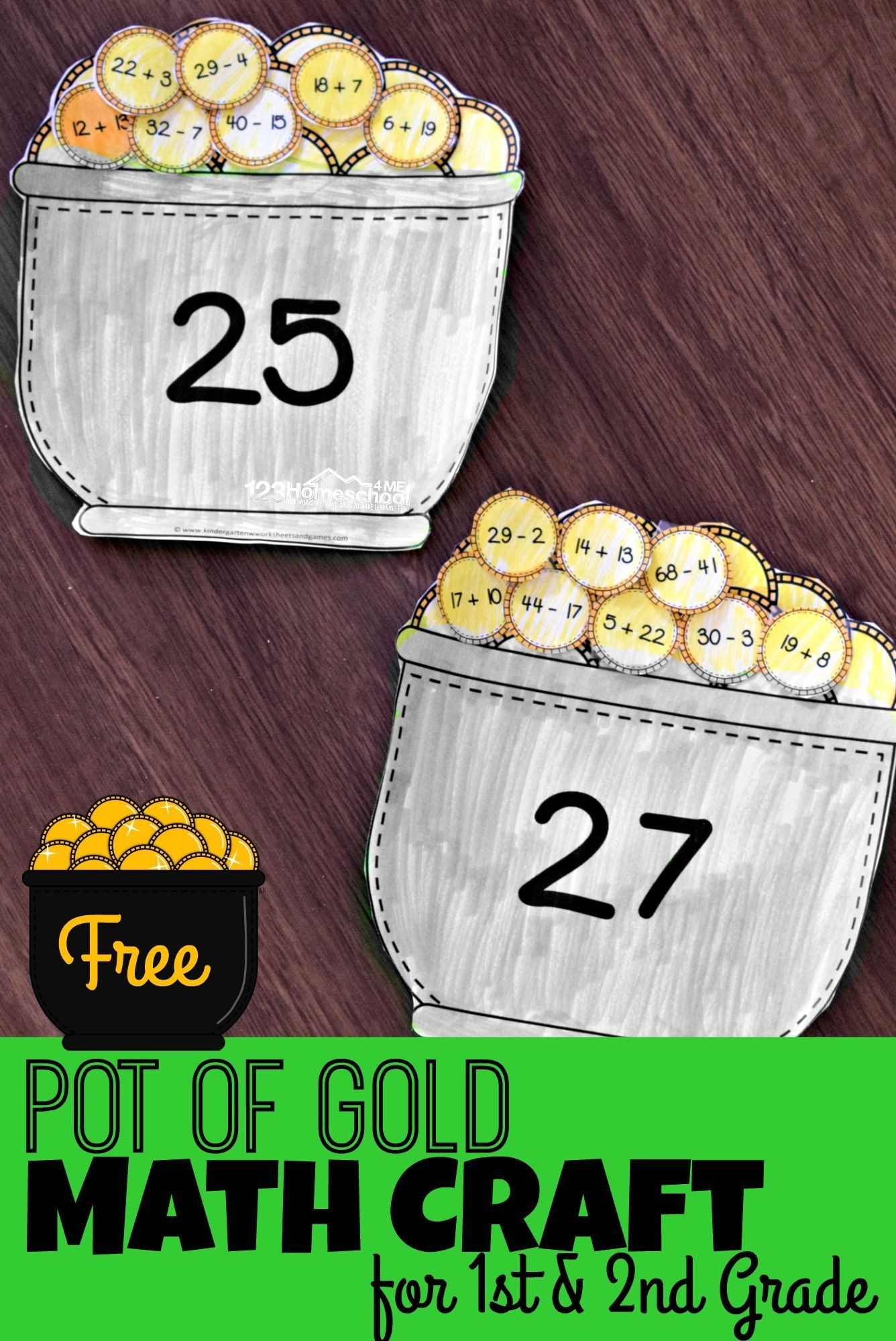 Pot Of Gold St Patrick S Day Math Craft Printables For 1st And 2nd Grade Math Crafts St Patricks Day Crafts For Kids St Patrick Day Activities [ 2000 x 1336 Pixel ]