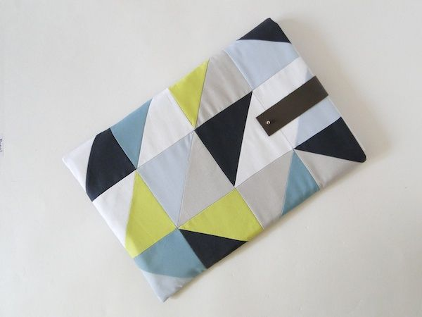 Geometric laptop sleeve tutorial from Mandy at Fabric Paper Glue