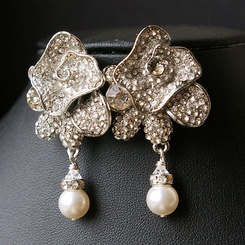 Rhinestone Rose Bridal Earrings, Vintage Wedding Jewelry