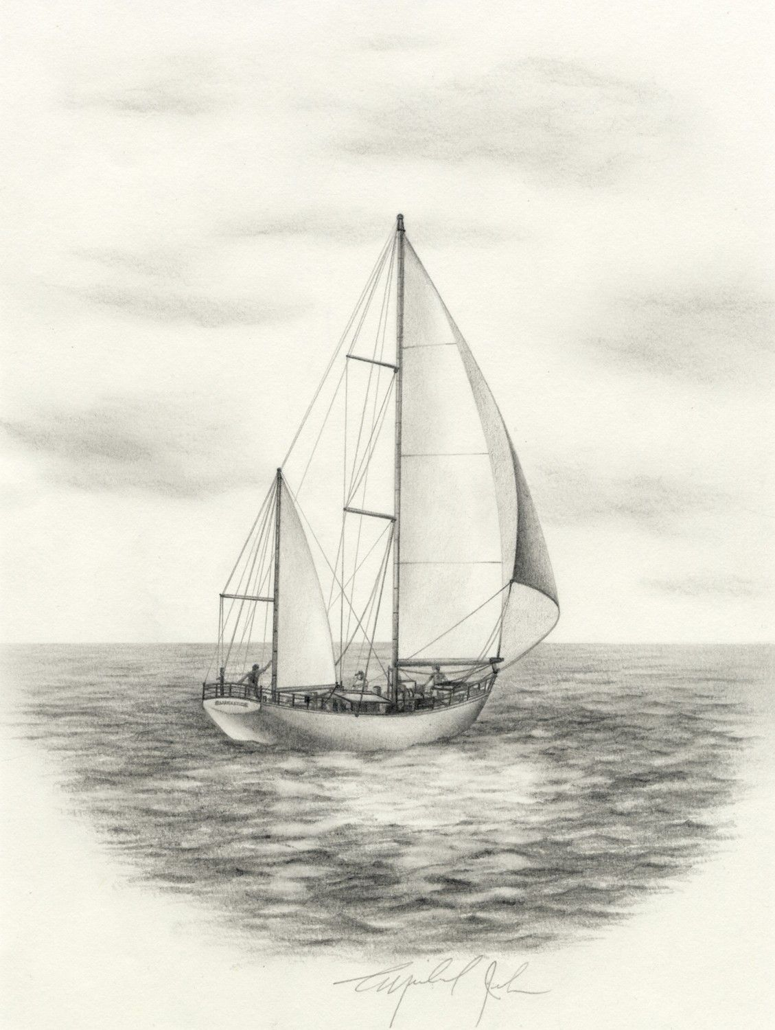 Yacht Pencil Sketch