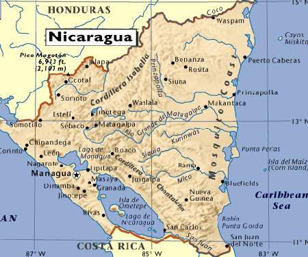 Large detailed administrative and road map of Nicaragua Nicaragua
