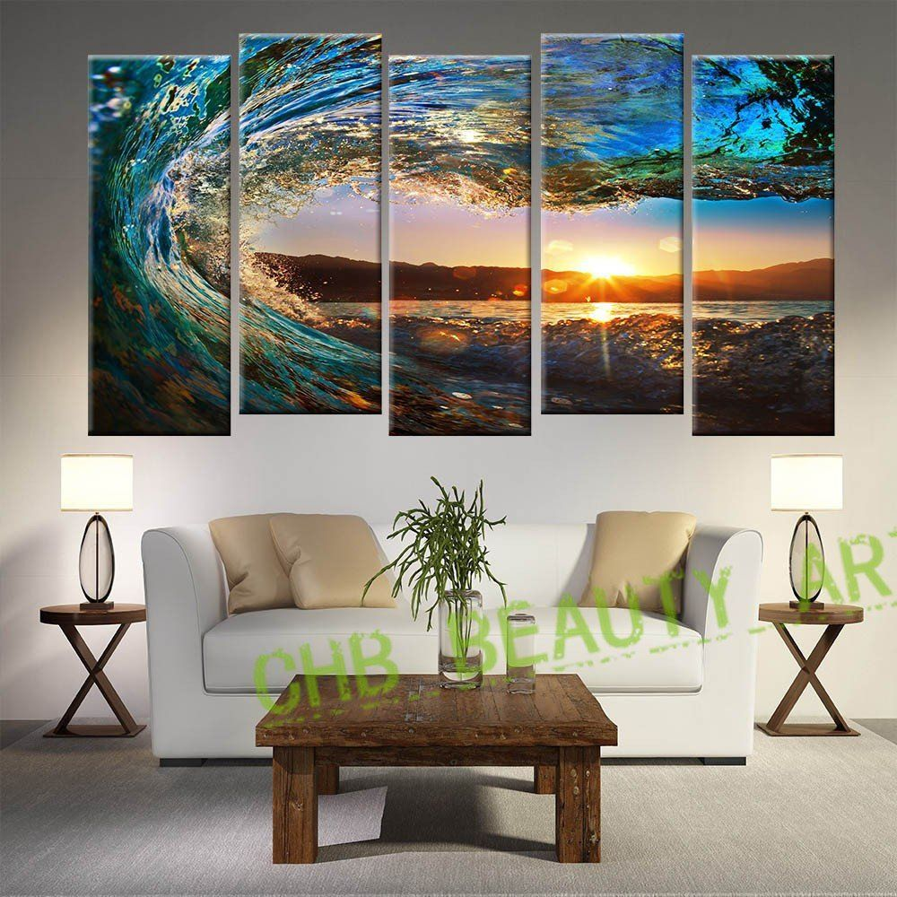 Paintings For Bedroom Decor 5 Panel Seascape Painting Modern Canvas Art Sea Wave Bedroom Decor