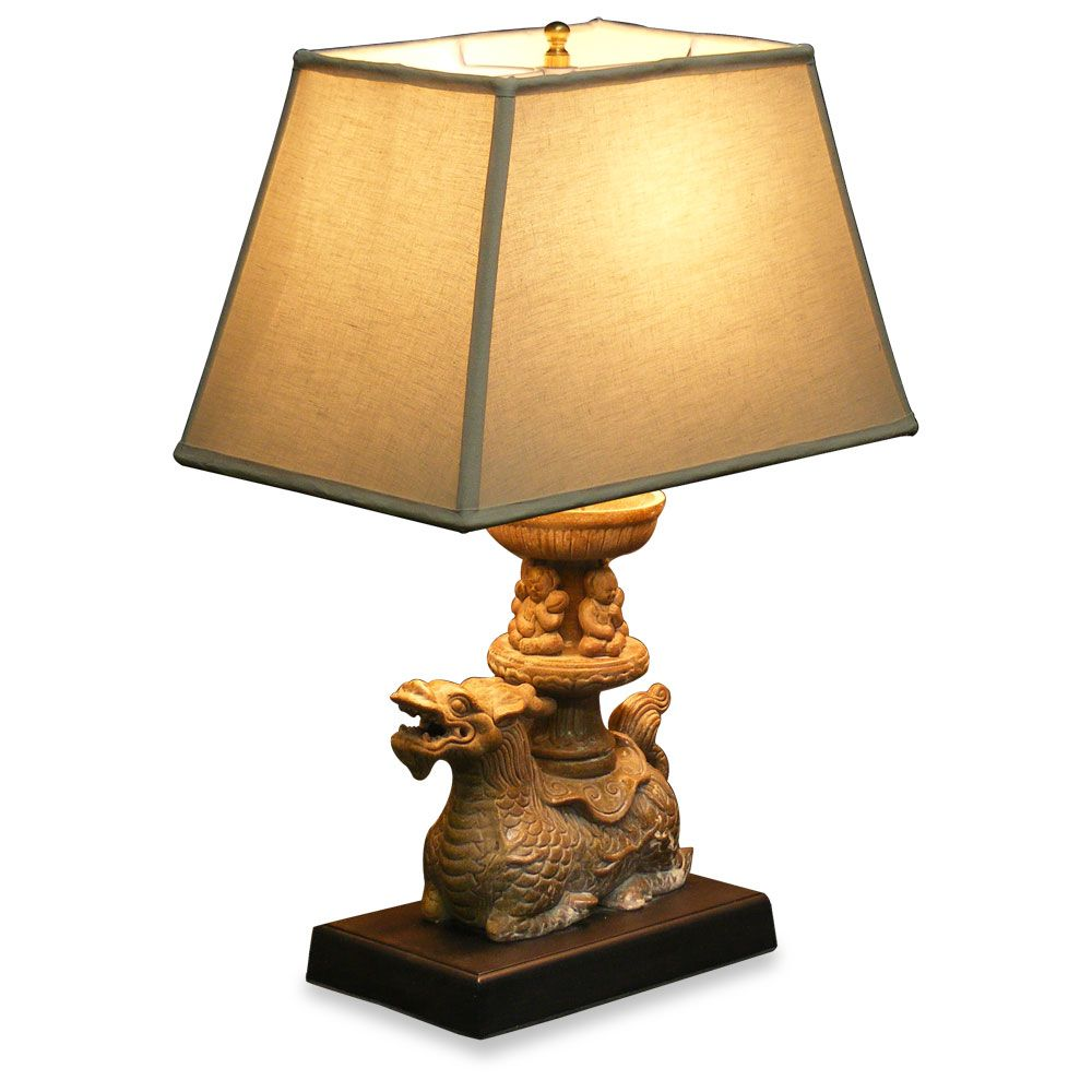 Porcelain dragon boat table lamp with shade asian style lamps porcelain dragon boat table lamp with shade geotapseo Image collections
