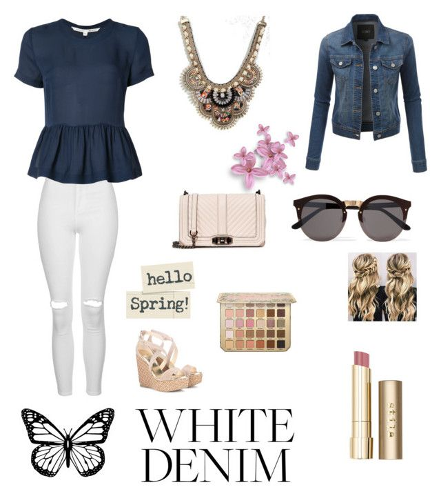 """""""Untitled #980"""" by adeane ❤ liked on Polyvore featuring Topshop, Veronica Beard, ALDO, LE3NO, Rebecca Minkoff, Jimmy Choo, Illesteva and Stila"""