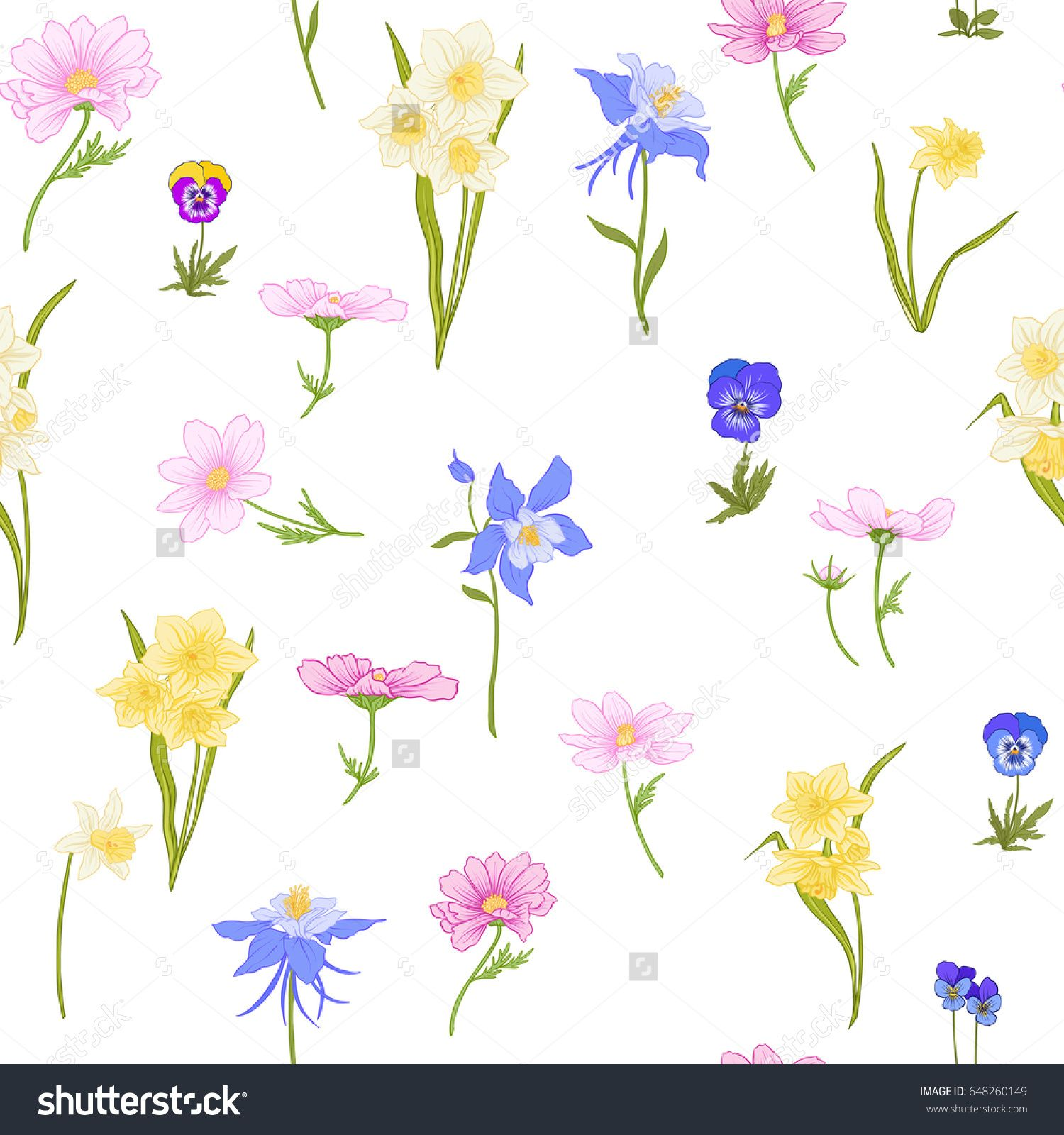 Colored Floral Seamless Pattern With Flowers In Botanical Style On A