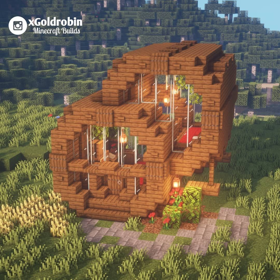 Modern Wooden House Would You Like To Live There Follow Xgoldrobin For More Minecraft Buildin Cute Minecraft Houses Minecraft Farm Minecraft Designs