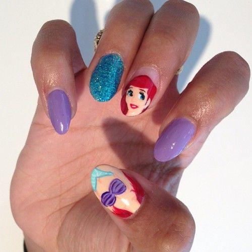 Little Mermaid Nails: Disney Nail Art: Little Mermaid Disney Nail Art Design