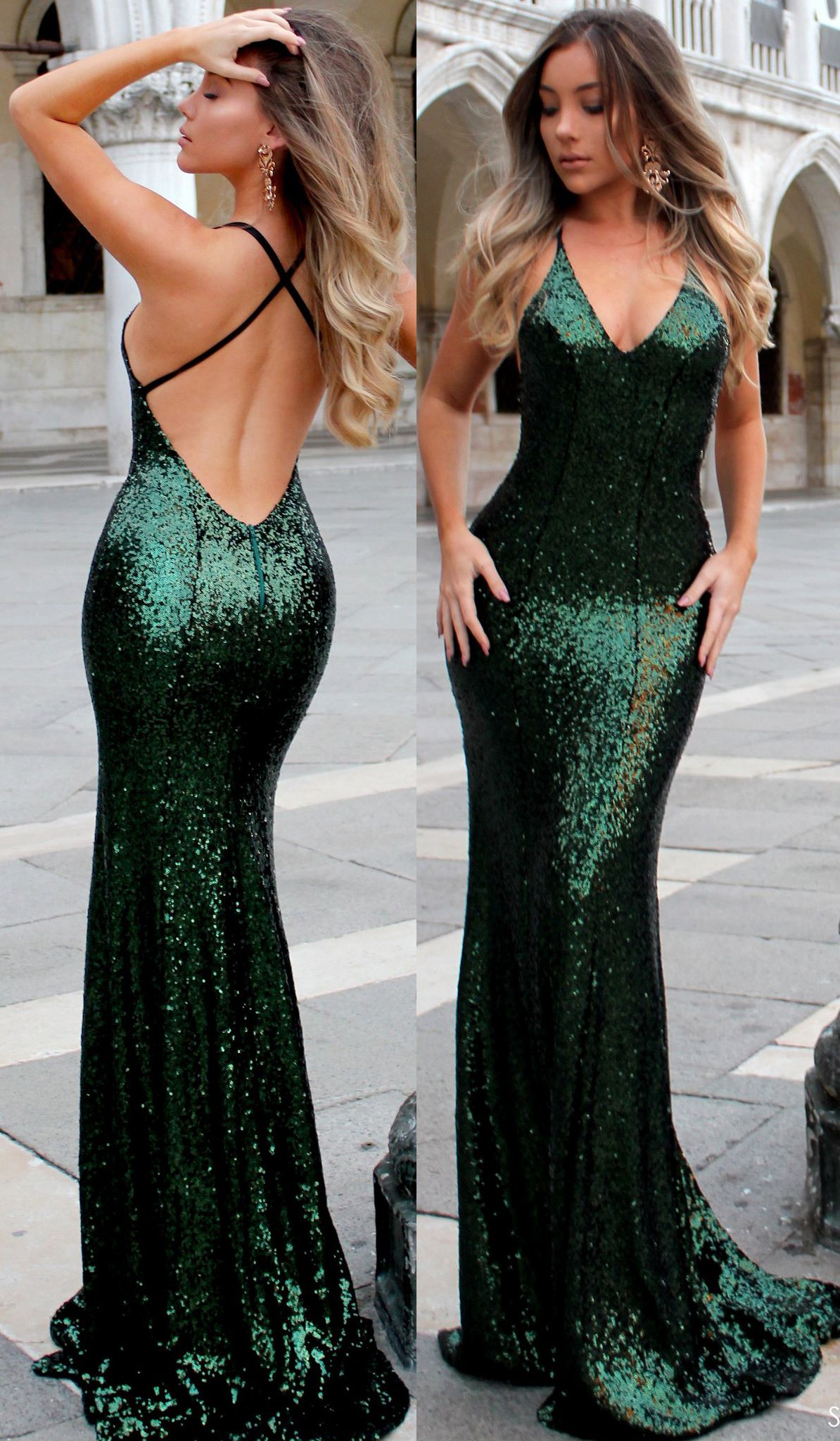Mermaid v neck sequin long prom dress dark green formal evening gown