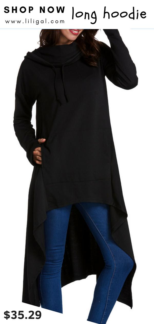 d6bf2a0324d USD35.29 Cowl Neck Pocket Asymmetric Hem Hoodie  liligal  hoodie  sweatshirt