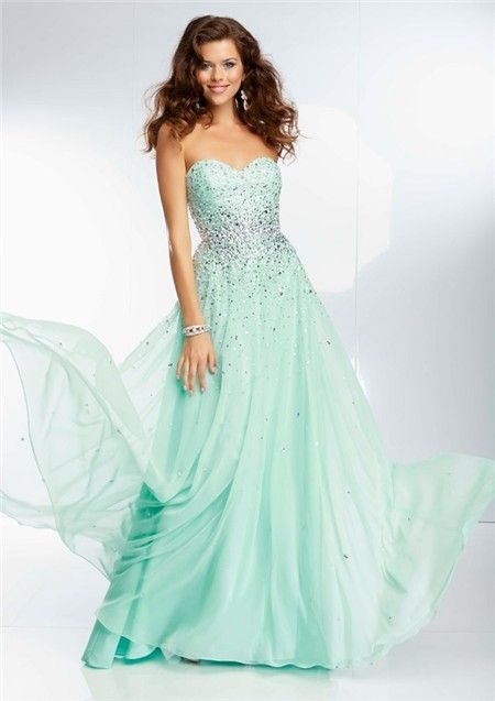 Elegant A Line Sweetheart Long Mint Green Chiffon Beaded Crystal ...