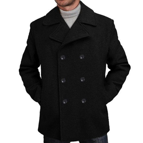 BGSD Men's Wool Blend Pea Coat in Black or Charcoal Price: $79.99 ...