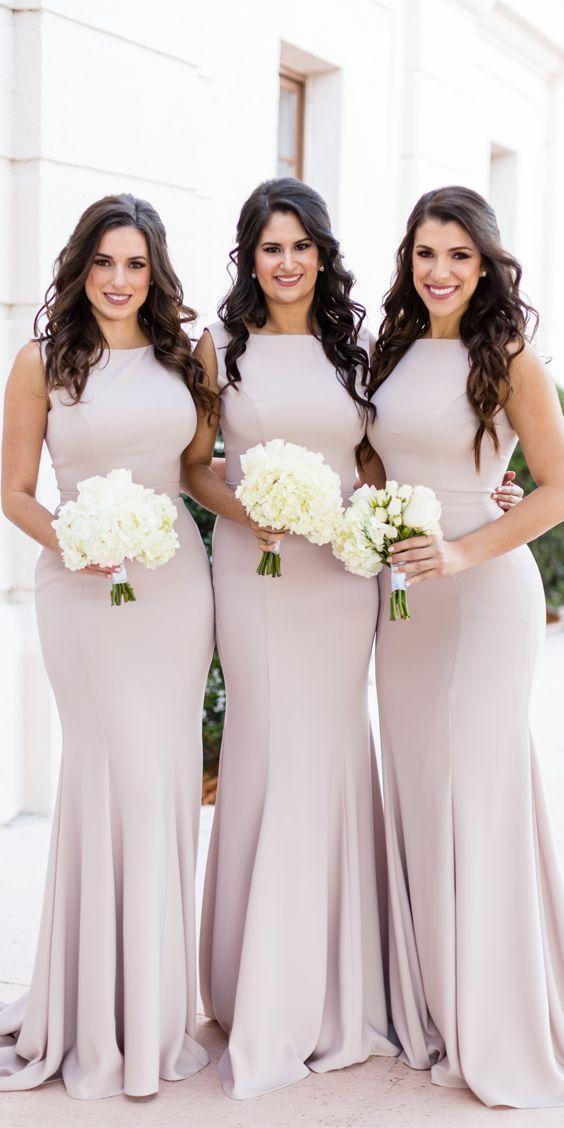 Pink Elegant Mermaid Sleeveless Bridesmaid Dress, Charming Floor-Length Bridesmaid Dress, KX782