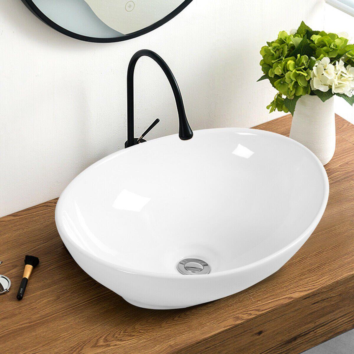 Costway Oval Bathroom Basin Ceramic Vessel Sink Bowl Vanity Porcelain W Pop Up Drain Walmart Com Vessel Sink Bowls Bathroom Sink Bowls Vessel Sink Bathroom