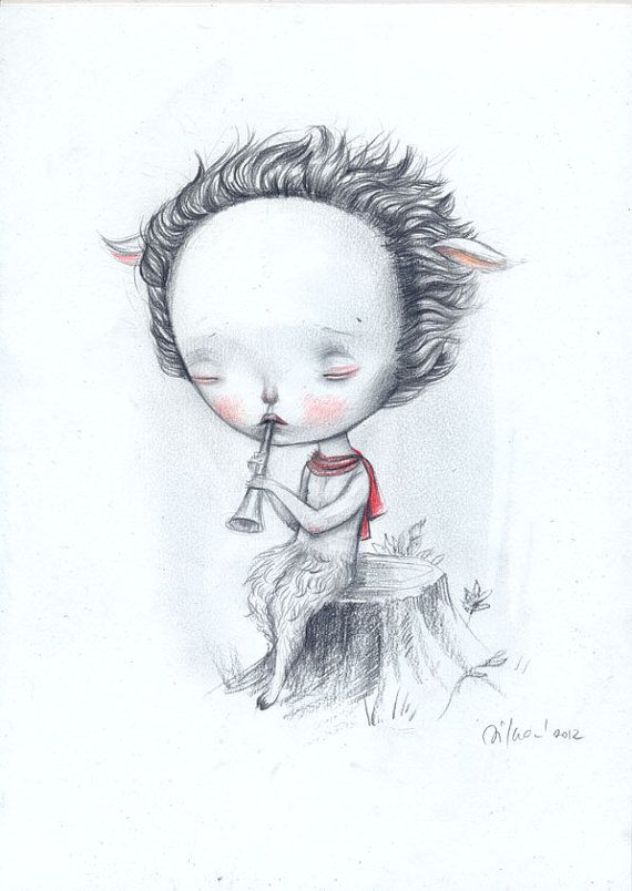 Pan   original drawing by Dilkabear on Etsy,