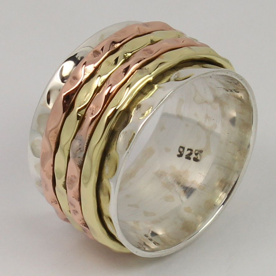 925 Sterling Silver Amazing Ring Size US 6.75 THREE TONE Spinner 12 mm Wide Band #Unbranded #Spinner