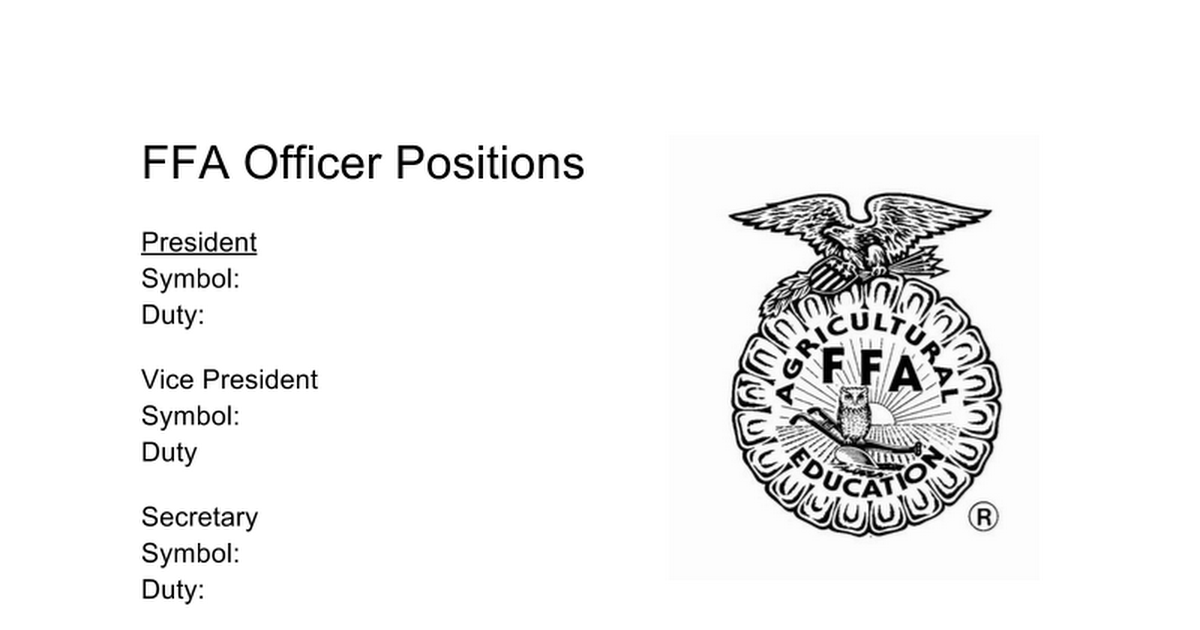 FFA Officer Positions blank worksheets. Students fill out ...