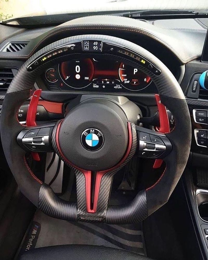 Exotics Master On Instagram Beautifully Made Custom Steering Wheel For Bmw By Carboncartelco With Red Accents And Led Shift In 2020 Steering Wheel Bmw Bmw Interior