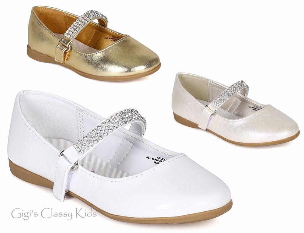 New Girls Gold White Shiny Ivory Dress