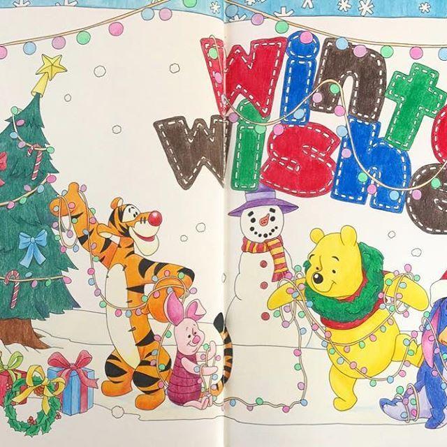 ちょっと早いけどクリスマス なプーさん 雪だるまがグリフィンドールです coloriage coloringbook ディズニー塗り絵 四季を彩るディズニー塗り絵 コロリアージュ 塗り絵 大人の塗り絵 disneycoloringbook