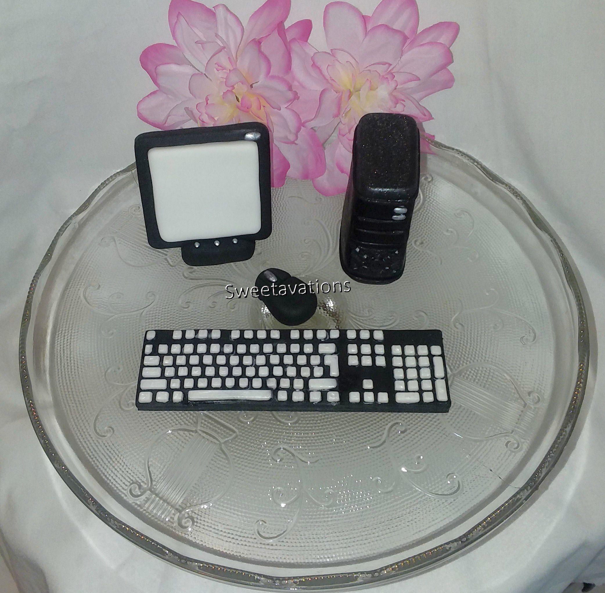 Fondant Computer Cake Topper - Fondant Laptop - Fondant