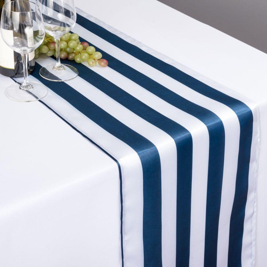 Charming Navy Blue U0026 White Striped Satin Table Runner