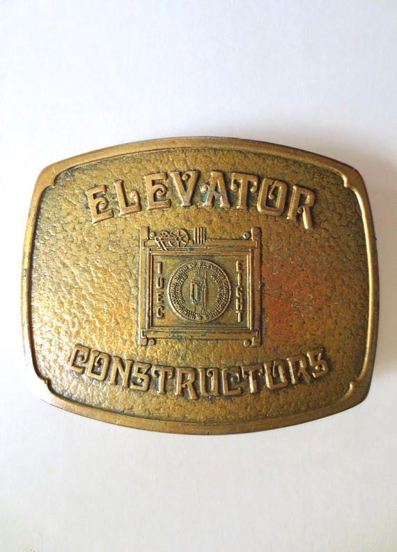 Vintage Elevators Constructors Brass Belt Buckle 1950s Jackpot Jen