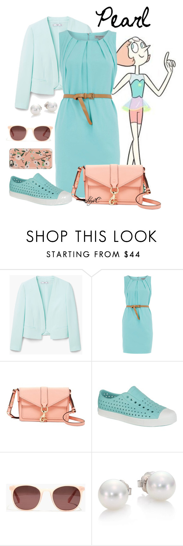 """""""Pearl - Steven Universe"""" by rubytyra ❤ liked on Polyvore featuring MANGO, Dorothy Perkins, Rebecca Minkoff, Native Shoes, Madewell, Mikimoto, Casetify, pearl and stevenuniverse"""