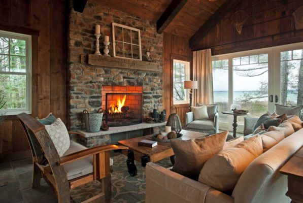 Rustic And Charming The Fireplace Will Keep The Room Toasty On