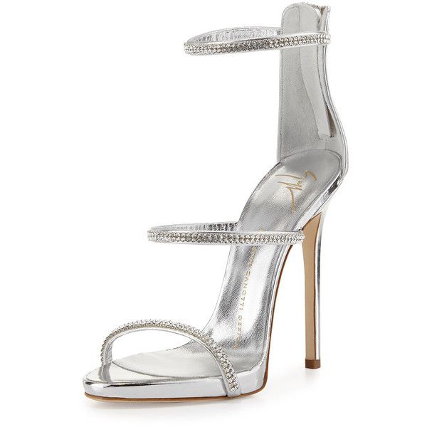 f80aaa0cb83 Giuseppe Zanotti Jeweled Three-Strap 110mm Sandal ( 950) ❤ liked on  Polyvore featuring shoes